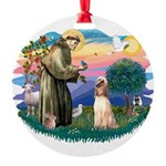 St.Francis #2/ Afghan Hound Round Ornament