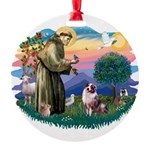 St.Francis #2/ Aus Shep (merl Round Ornament