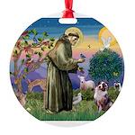 St Francis & Aussie Round Ornament