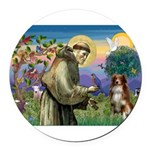 St Francis/ Aus Shep Round Car Magnet