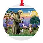 St Francis/Aussie (#5) Round Ornament