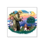 "St.Francis #2/ Basset Hound Square Sticker 3"""
