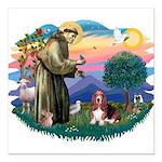 St.Francis #2/ Basset Hound Square Car Magnet 3&qu