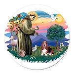 St.Francis #2/ Basset Hound Round Car Magnet