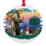 St.Francis #2/ Basset Hound Round Ornament
