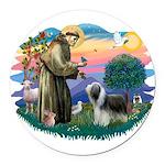 St.Francis #2/ Beardie (sw) Round Car Magnet