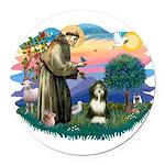St.Francis #2/ Beardie (#8) Round Car Magnet
