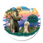 St.Francis #2/ Bearded Colli Round Car Magnet