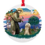 St.Francis #2/ Bearded Colli Round Ornament
