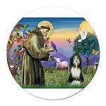 St. Francis & Beardie Round Car Magnet