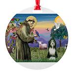 St. Francis & Beardie Round Ornament