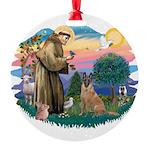St.Francis #2/ Bel Malanois Round Ornament