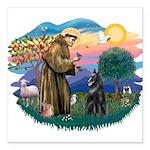 St.Francis #2/ Belgian Shep Square Car Magnet 3&qu