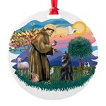 St.Francis #2/ Belgian Shep Round Ornament