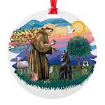 St.Francis #2/ Belgian Shep Round Ornament