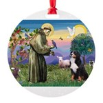 St Francis/Bernese Round Ornament