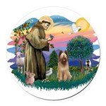 St Francis #2/ Briard (f) Round Car Magnet