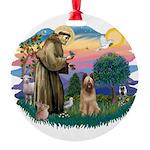 St Francis #2/ Briard (f) Round Ornament