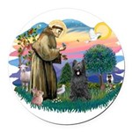 St.Francis #2/ Briard (blk) Round Car Magnet
