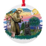St.Francis #2/ Briard (blk) Round Ornament