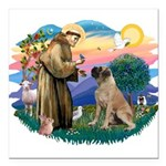 St.Francis #2/ Bull Mastiff Square Car Magnet 3&qu