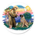 St.Francis #2/ Bull Mastiff Round Car Magnet