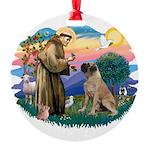 St.Francis #2/ Bull Mastiff Round Ornament