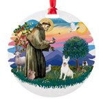 St.Francis #2/ Bull T #4 Round Ornament