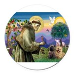 St. Francis Cairn Round Car Magnet