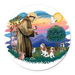St.Fran #2/ Cavalier (2 bl) Round Car Magnet