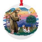 St.Fran #2/ Cavalier (2 bl) Round Ornament