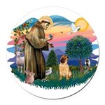 St.Francis #2/ Shar Pei (#2) Round Car Magnet