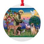 St Francis/Shar Pei #5 Round Ornament