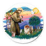 St Francis #2/ Chow (B) Round Car Magnet