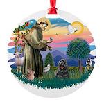 St.Fran #2/ Cocker (black) Round Ornament