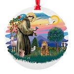 St.Fran #2/ Cocker (brn) Round Ornament