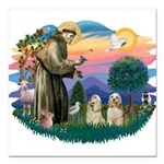 St.Francis #2/ Cockers (2buff Square Car Magnet 3&