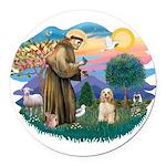 St.Francis #2/ Cocker (buff # Round Car Magnet
