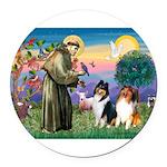 St Francis / Collie Pair Round Car Magnet