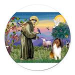 St Francis / Collie Round Car Magnet