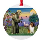 St Francis / Collie Round Ornament