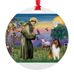 St. Francis & Collie Round Ornament