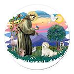 St.Francis #2/ Coton De Tulea Round Car Magnet