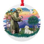 St.Francis #2/ Coton De Tulea Round Ornament