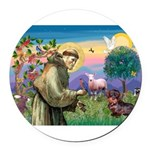 St Francis Doxie Round Car Magnet