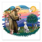 St Francis #2/ Dalmatian Square Car Magnet 3