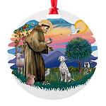 St Francis #2/ Dalmatian Round Ornament