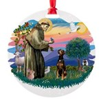 St Francis #2/ Doberman Round Ornament