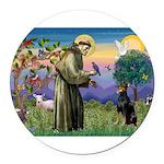 St. Francis Dobie Round Car Magnet