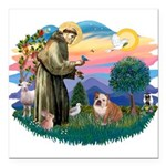 St.Francis #2/ Eng Bull (W-Br Square Car Magnet 3&
